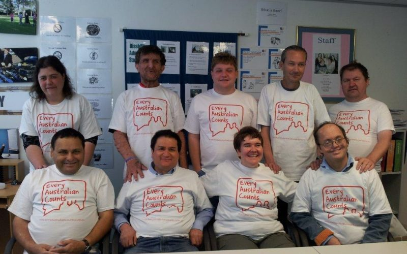 SASinc members wearing tshirts that say Every Australian Counts